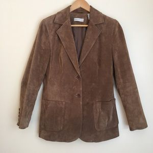 Lord & Taylor Tailored Tan Suede Leather Blazer